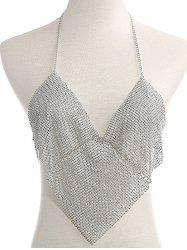 Rhinestoned Triangle Halter Bra Chain -