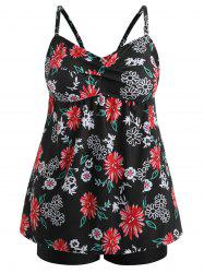 Plus Size Flower Printed Cami Tankini Set -