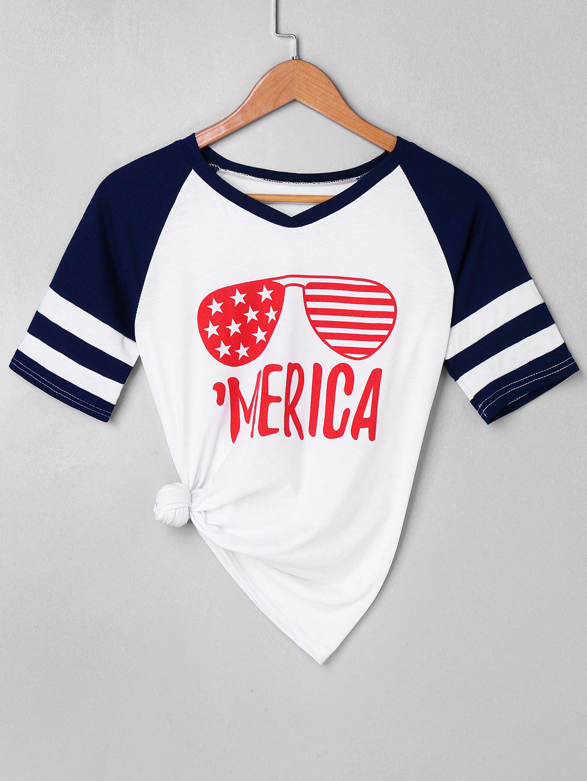 Best Letter Sunglasses Print Raglan Sleeve T-shirt