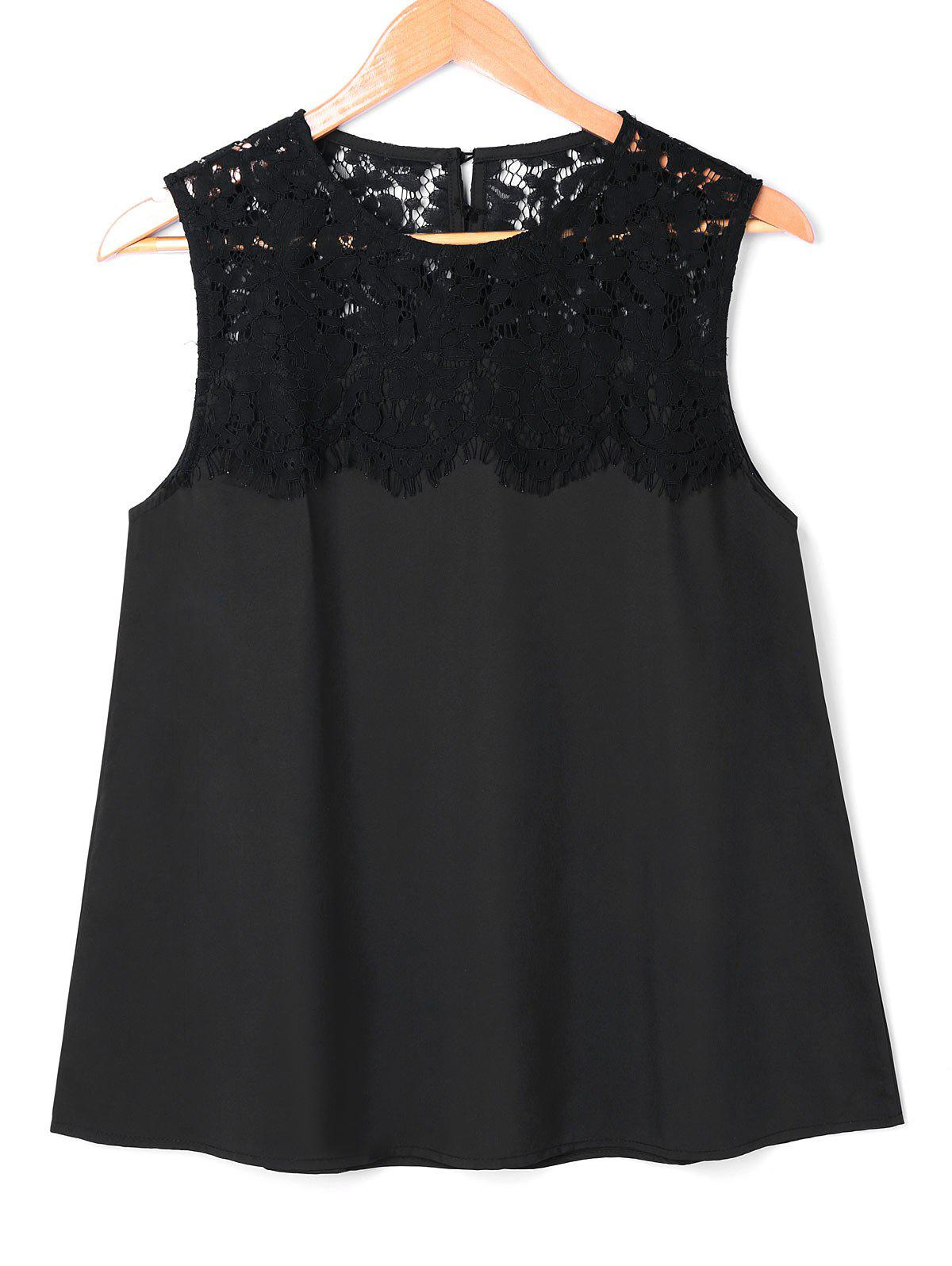 Cheap Lace Panel Sleeveless Blouse