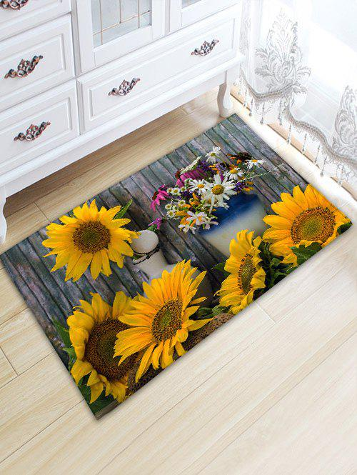 Trendy Flower Board Print Water Absorption Area Rug