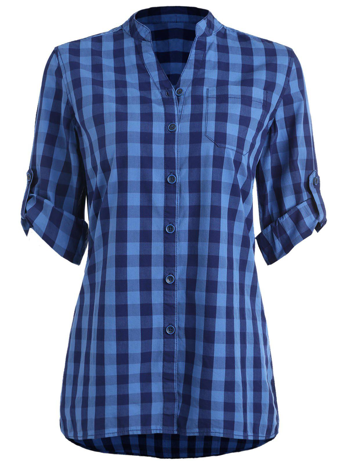 New Stand Collar Gingham Tunic Shirt