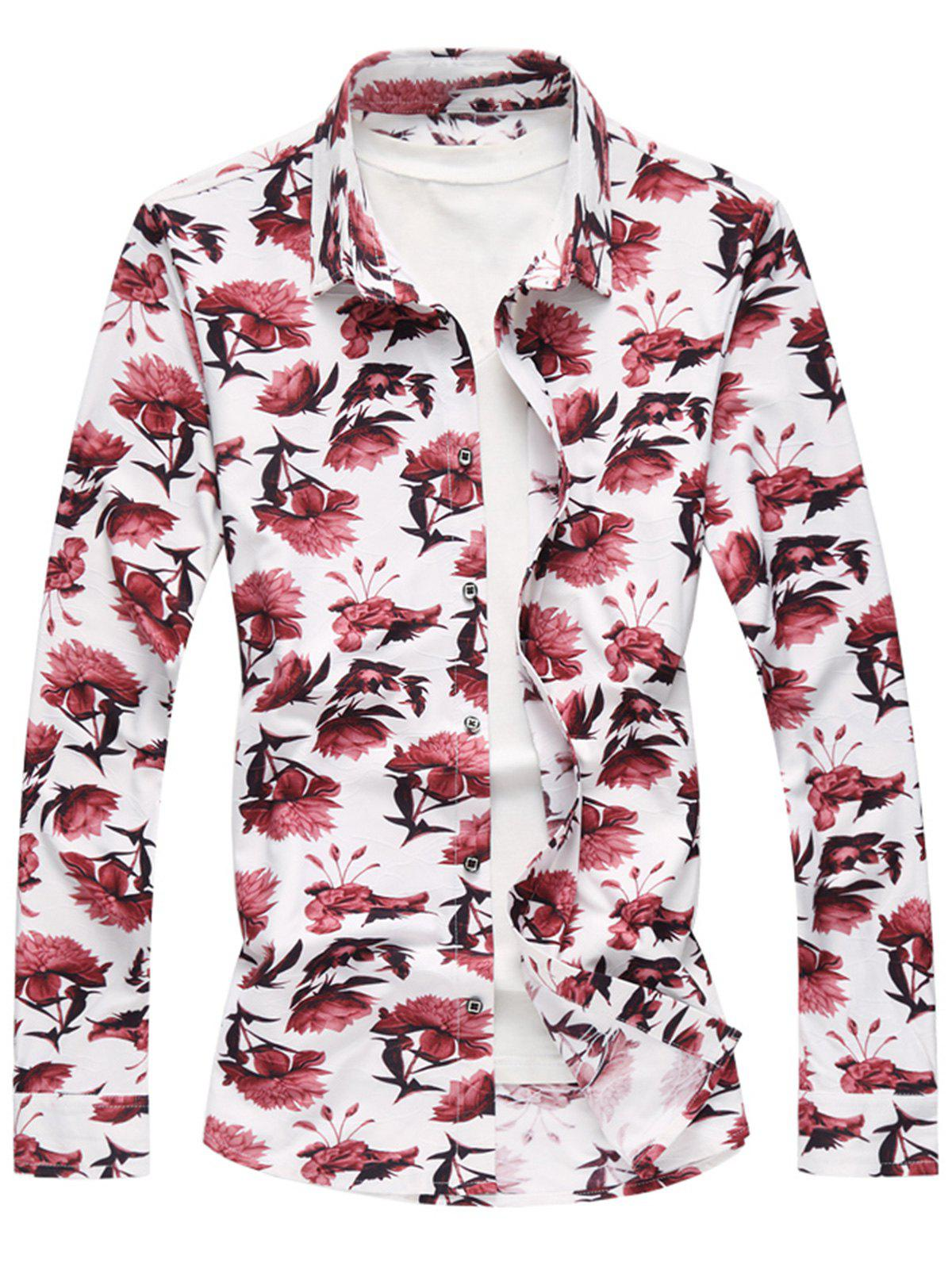 Latest Floral Pattern Long Sleeve Shirt