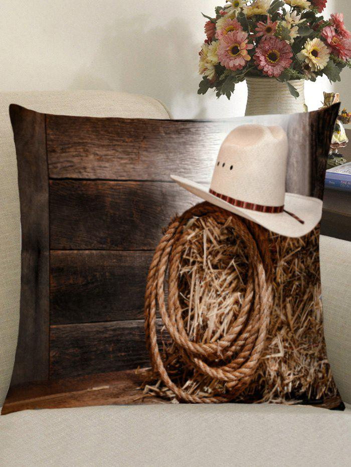 Outfits Cowboy Hat Wood Plank Square Pillow Case