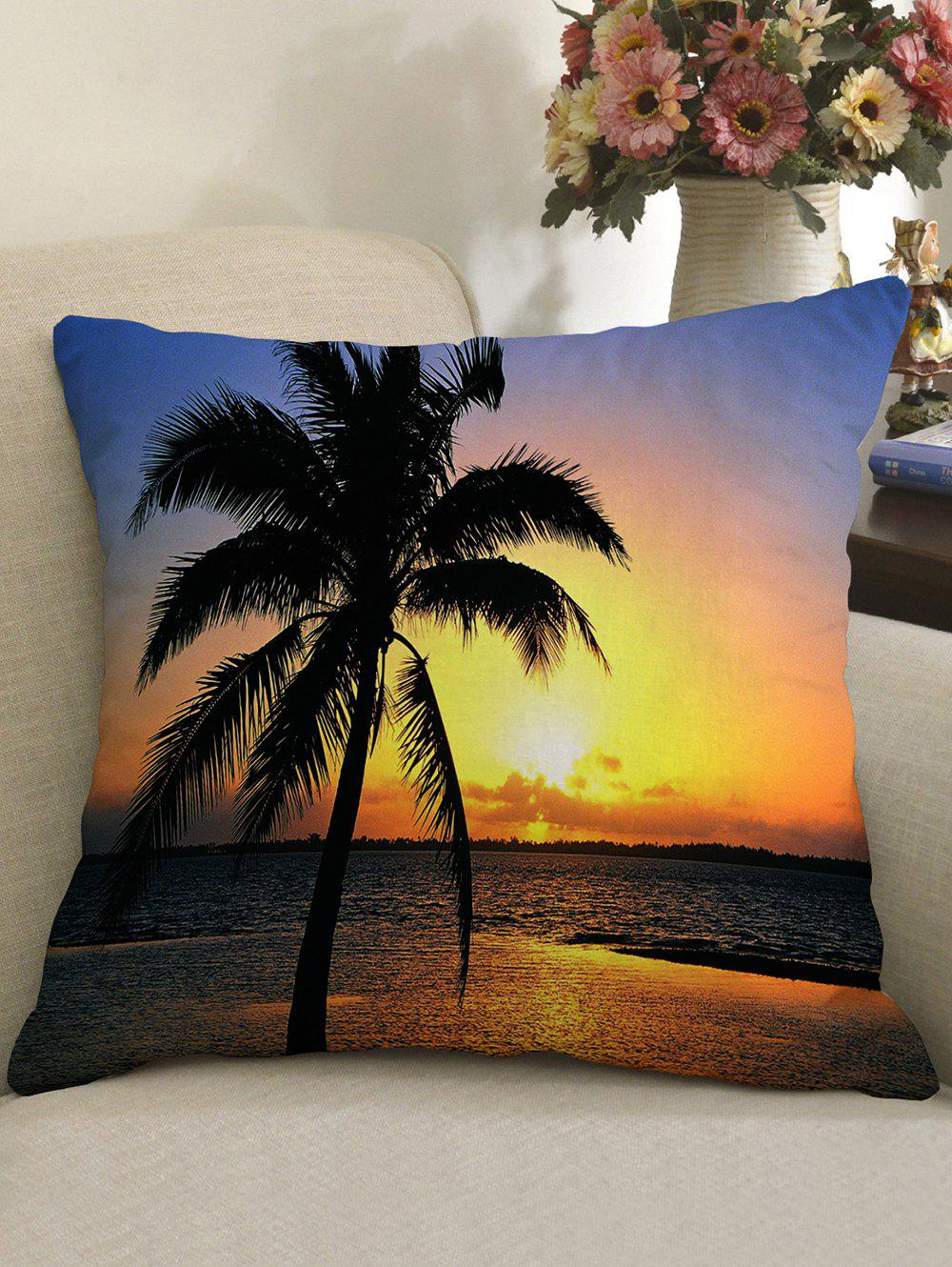 Hot Coconut Palm Sunset Sea Print Square Pillow Case