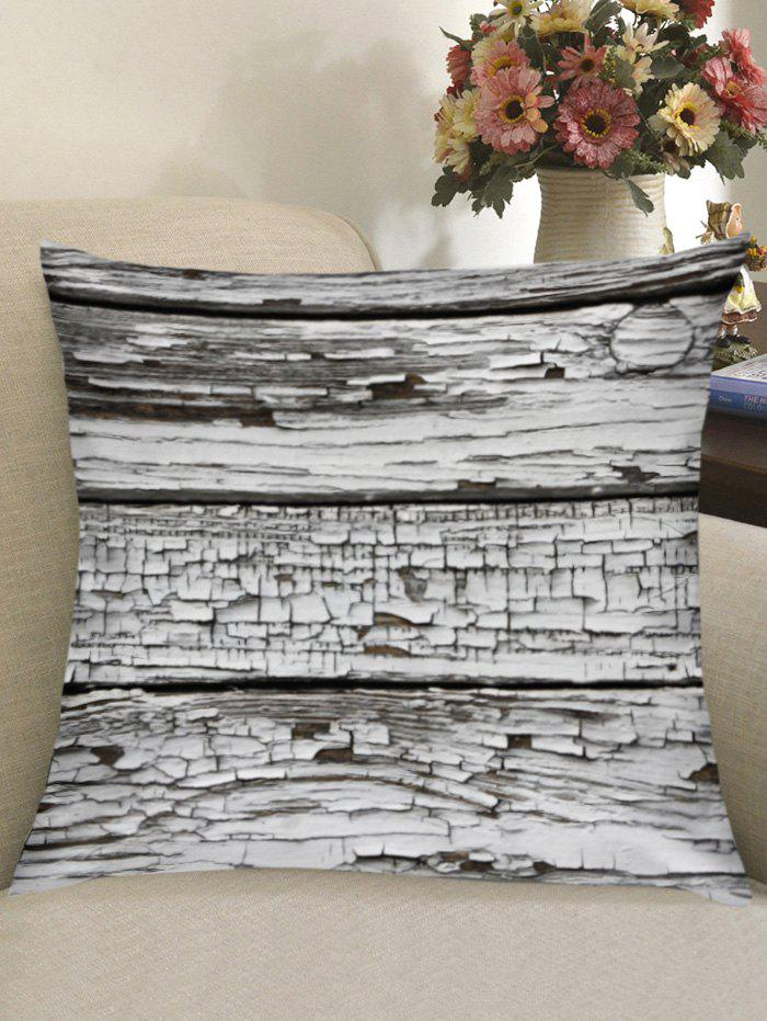 Fancy Rotten Wooden Board Printed Throw Pillow Case