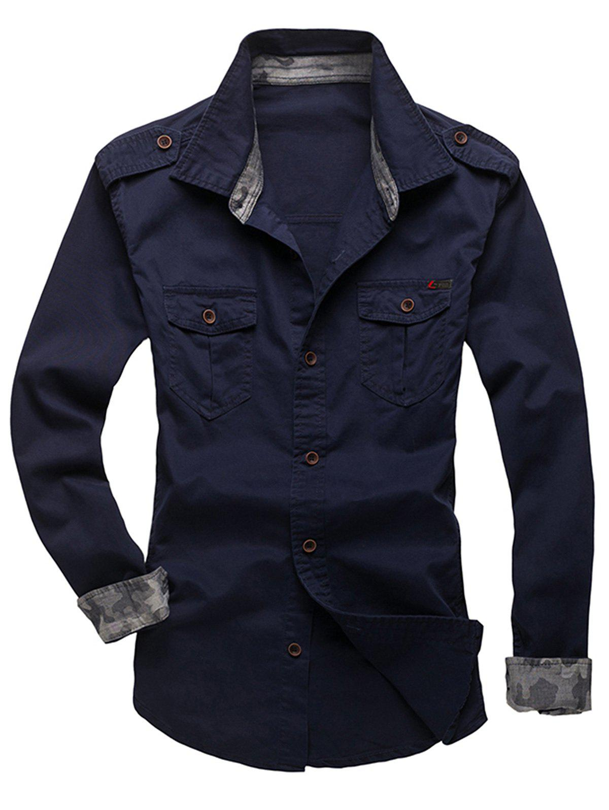 Chic Epaulet Design Fatigue Shirt