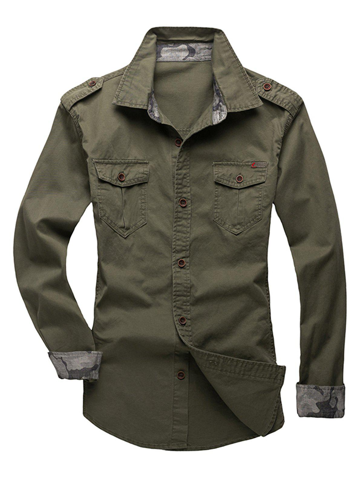 Unique Epaulet Design Fatigue Shirt