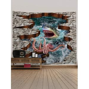 3D Octopus and Shark Print Tapestry Wall Hanging Decor -
