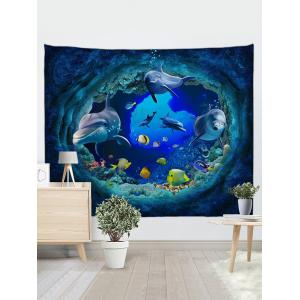 3D Colorful Fish Dolphin Print Wall Art Tapestry -