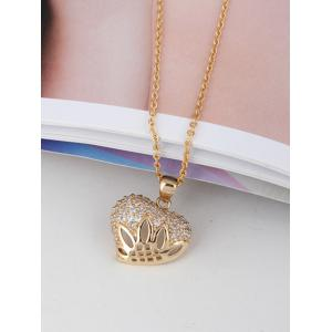 Rhinestone Decorated Heart Metal Pendant Necklace -