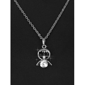 Rhinestone Metal Doll Decorated Pendant Necklace -