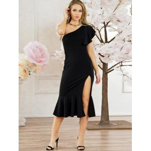 One Shouler Side High Slit Party Dress -