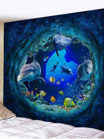 Affordable 3D Colorful Fish Dolphin Print Wall Art Tapestry