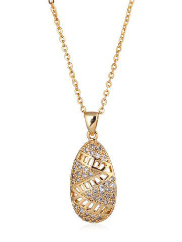 Cheap Hollow Out Zigzag Embellished Metal Pendant Necklace