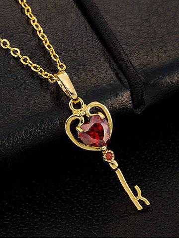 New Faux Gemstone Heart Key Pendant Necklace