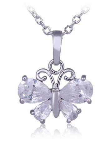 Hot False Crystal Butterfly Pendant Chain Necklace