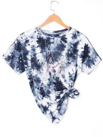 Buy Beading Asymmetric Tie Dye T-shirt