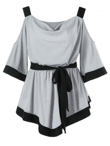 Unique Contrast Color Cold Shoulder Belted Top