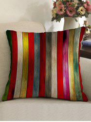 Colorful Wood Grain Print Decorative Linen Sofa Pillowcase -
