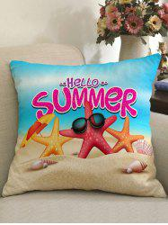 Beach Starfish Pattern Linen Pillowcase -