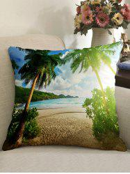 Palm Tree Beach Pattern Decorative Linen Sofa Pillowcase -