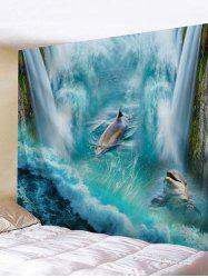 3D Waterfall Dolphin Print Wall Hanging Tapestry -
