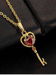 Faux Gemstone Heart Key Pendant Necklace -