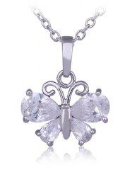 False Crystal Butterfly Pendant Chain Necklace -