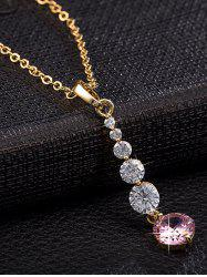 Zircon Embellished Geometric Pendant Necklace -