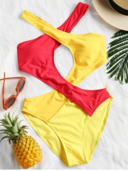 Patchwork Cutout One Piece Swimsuit -