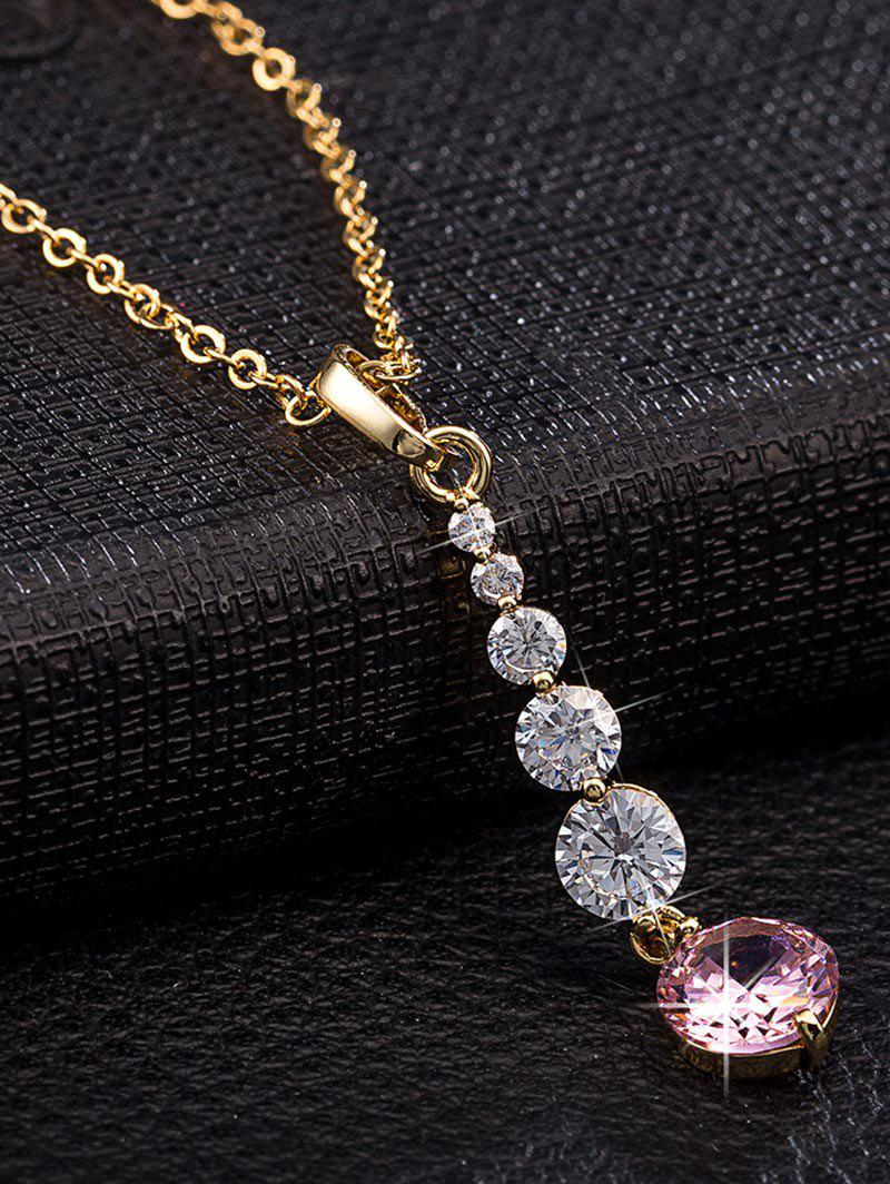 Discount Zircon Embellished Geometric Pendant Necklace