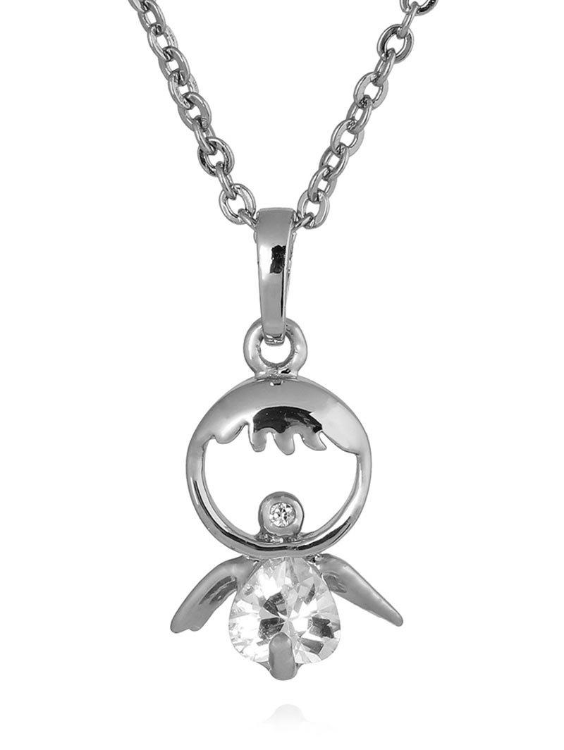 Store Rhinestone Metal Doll Decorated Pendant Necklace