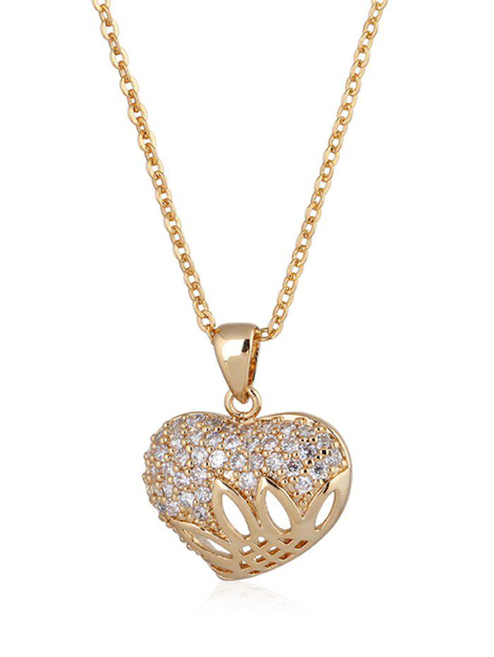 Online Rhinestone Decorated Heart Metal Pendant Necklace