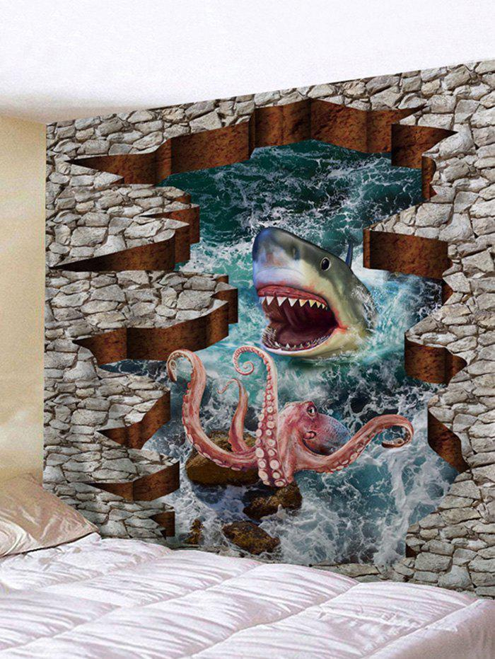 Trendy 3D Octopus and Shark Print Tapestry Wall Hanging Decor