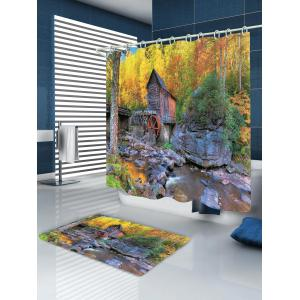 Forest Stream House Pattern Waterproof Bathroom Shower Curtain -