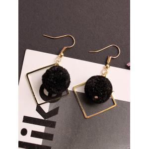 Hair Ball Hollow Square Dangle Earrings -