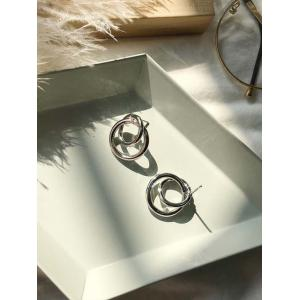 Simple Double Round Alloy Stud Earrings -