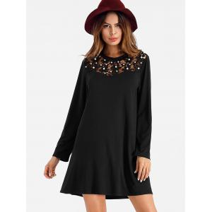 Long Sleeve Mini Shift Dress with Pearl -