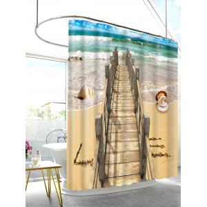 Wood Bridge Beach Shell Print Shower Curtain Bathroom Decor -