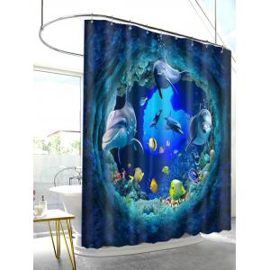 3D Dolphin Sea World Print Waterproof Fabric Shower Curtain -