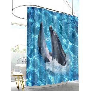 Dophins Playing Print Waterproof Shower Curtain -