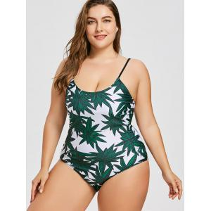 Tropical Plus Size Criss-cross Slimming Swimsuit -
