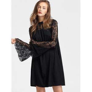 Long Lace Sleeve Mini Straight Dress -