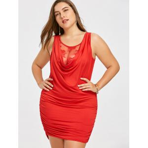 Lace Panel Plus Size Draped Mini Dress -