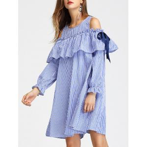 Cold Shoulder Long Sleeve Striped Dress -