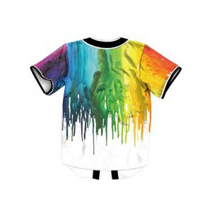 Colorful Paint Dripping Button Up Maillot de baseball -