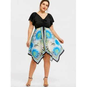 Plus Size Print Swing Handkerchief Dress -