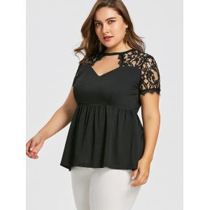 T-shirt Smocké Grande Taille à Taille Empire -