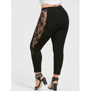 Plus Size Lace Trim Ankle Leggings -